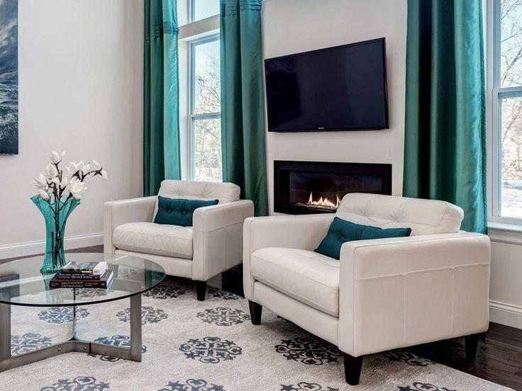 cortinas verdes para el saln moderno
