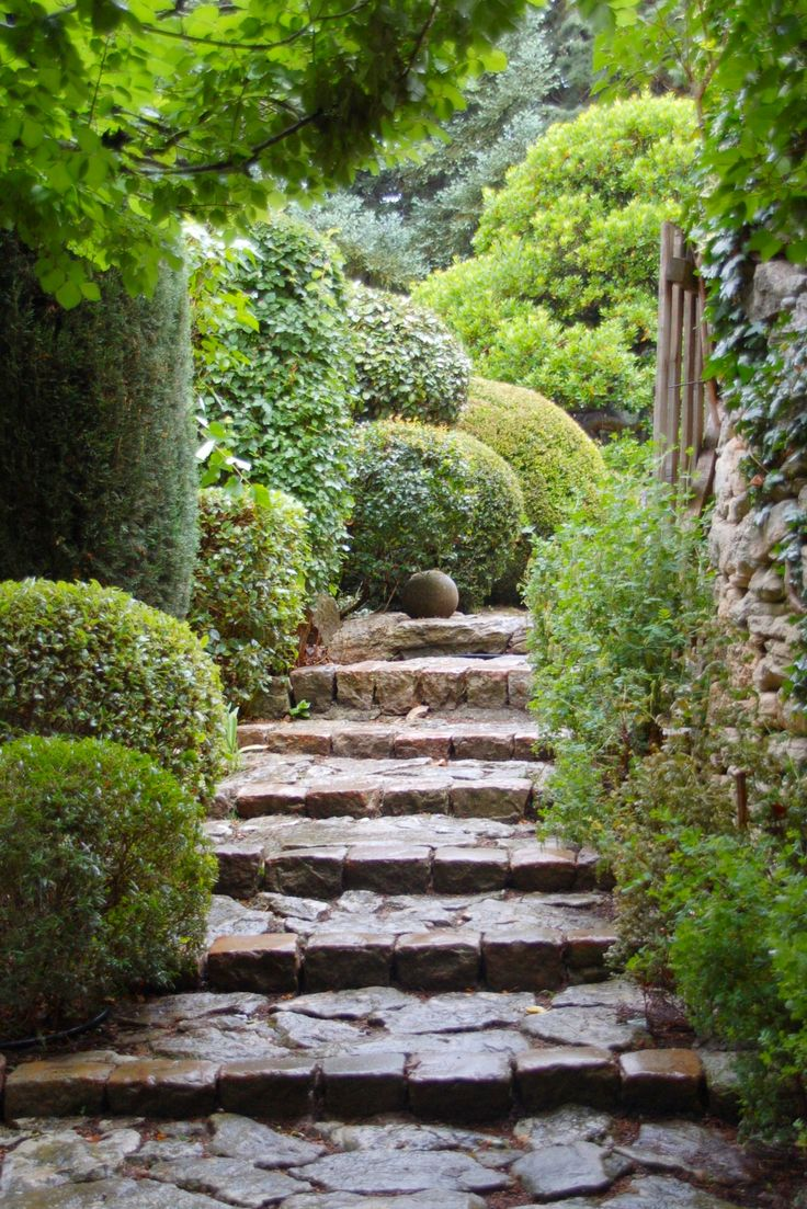 The natural stone steps of a stairway garden feature climb a small - 1343 Best Garden Pathway Stairs Images On Pinterest Landscaping Gardening And Garden Ideas