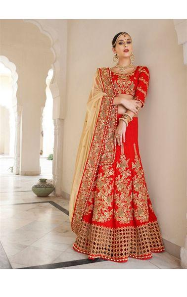 Charming Red Lehenga Style Wedding Designer Saree