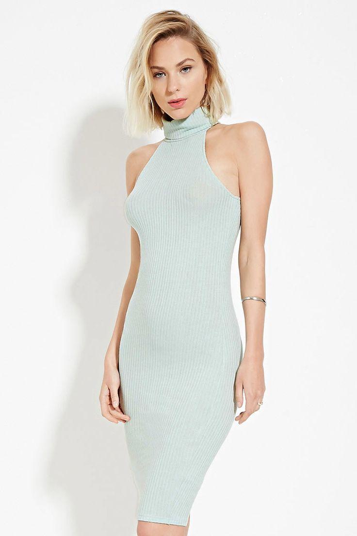 Turtleneck Ribbed Dress Forever 21 2000186399 Ribbed