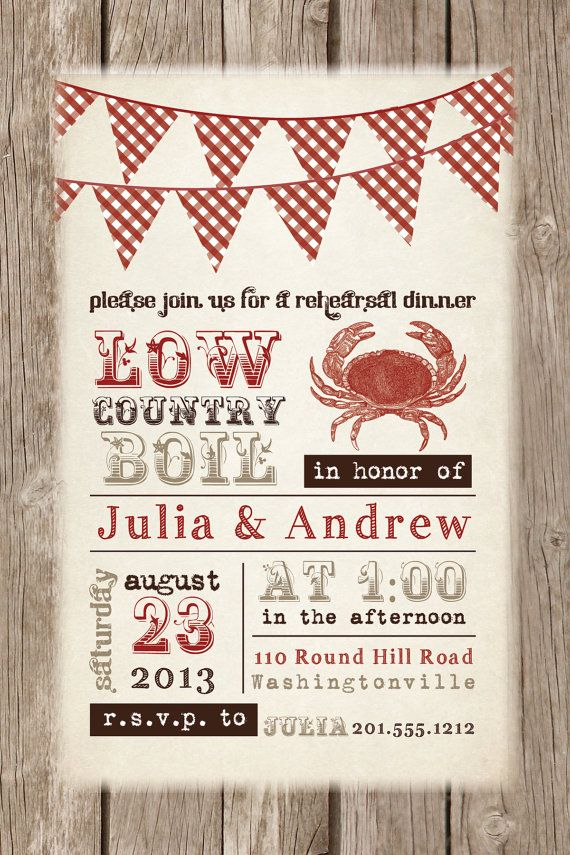LOW COUNTRY BOIL Crab Barbeque Engagement/Rehersal Dinner Party Invitation - You Print