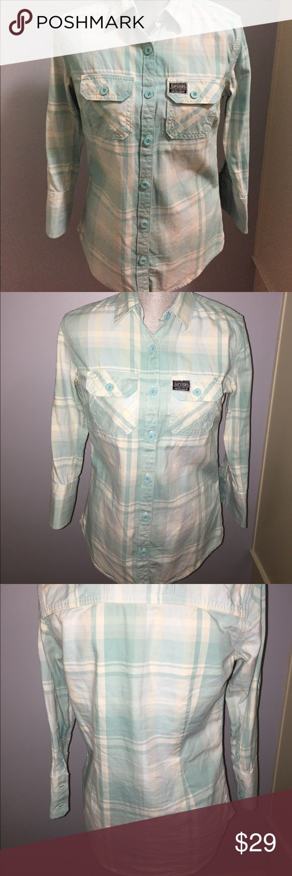 Superdry Plaid Shirt Superdry women's button down Plaid Shirt in mint green and white. 3/4 length Sleeves can be worn down or buttoned up as shown in photos. 100% cotton in excellent condition!  Women's medium. Superdry Tops Button Down Shirts