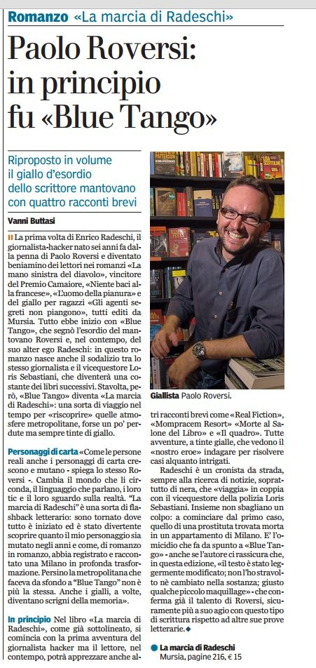 Il bel pezzo pubblicato domenica scorsa dalla Gazzetta di Parma sul mio libro La marcia di Radeschi (Mursia)