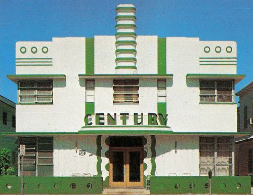 Century Hotel, Miami, FloridaFrom Tropical Deco    Wee Deco hotel.     From the book:      Century Hotel - 140 Ocean Drive (Henry Hohauser, 1939.)      Here it is on Google Street View.
