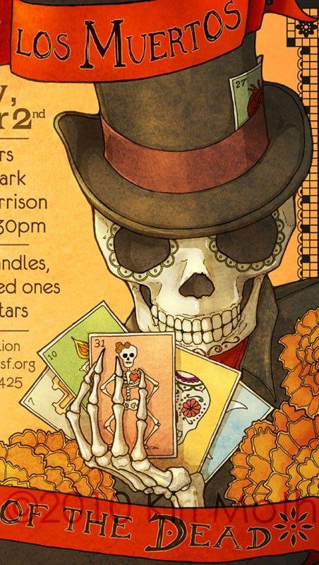 DIA DE LOS MUERTOS ☠~Day of the Dead~Day of the Dead Poster Skeleton Loteria Dia de los Muertos ~ Shop: KiriMothDesigns