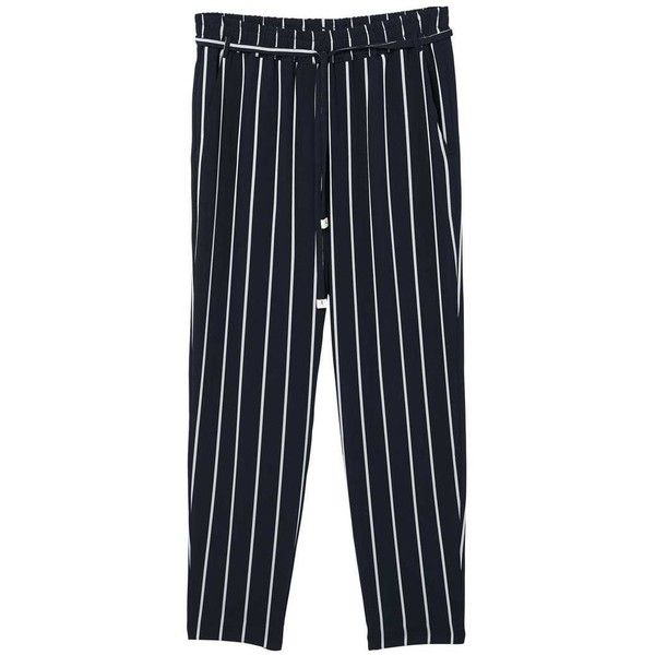 MANGO Striped trousers (€48) ❤ liked on Polyvore featuring pants, dark navy, stripe pants, mango trousers, side pocket pants, striped trousers and striped pants