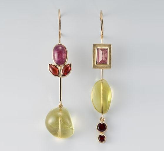 Janis Kerman  - earrings - 18KT, TOURMALINE, GARNET, LEMON CITRINE