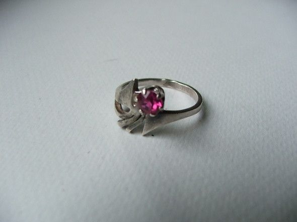 srebrny pierścionek warmet rubin antyk unikat  - nailart2010 - Biżuteria