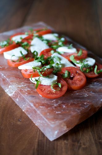 caprese salad on my new himalayan sea salt block