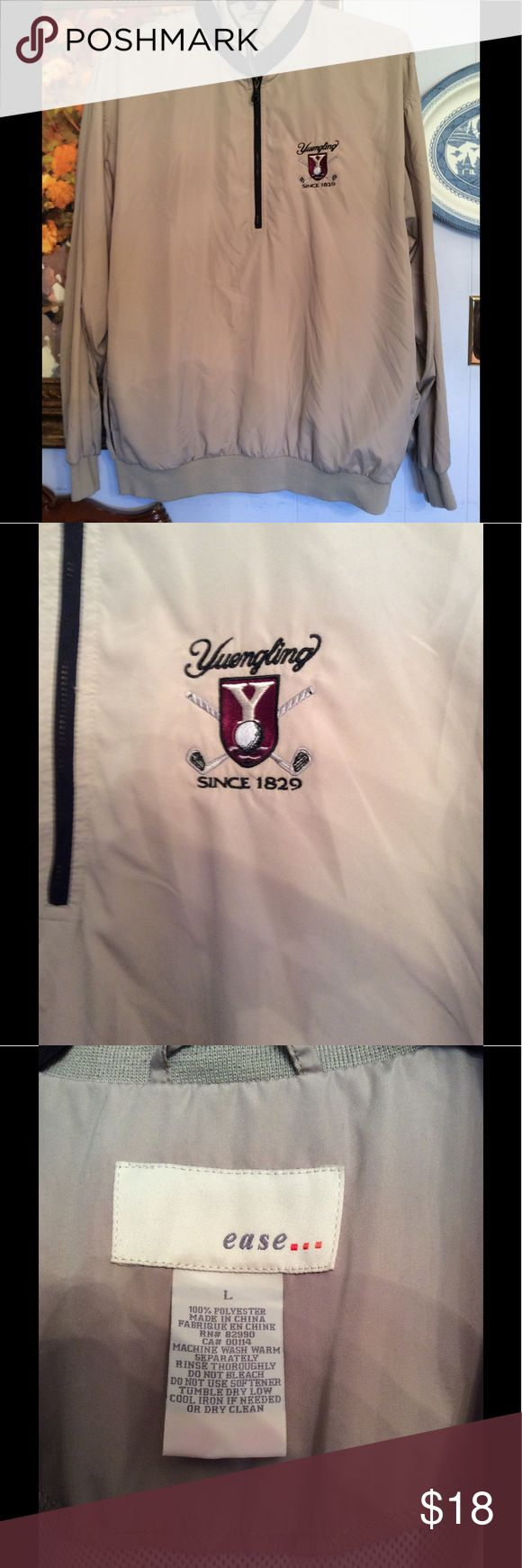 EASE... Yuengling Men's Golf Jacket Size L This is a nice men's pullover jacket. No ware or spots on it. It's 100% Polyester. Machine wash and tumble dry. ease... Jackets & Coats
