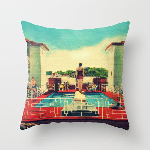 Mid Century Modern Motel Pillow Swimming Pool by VintageBeach