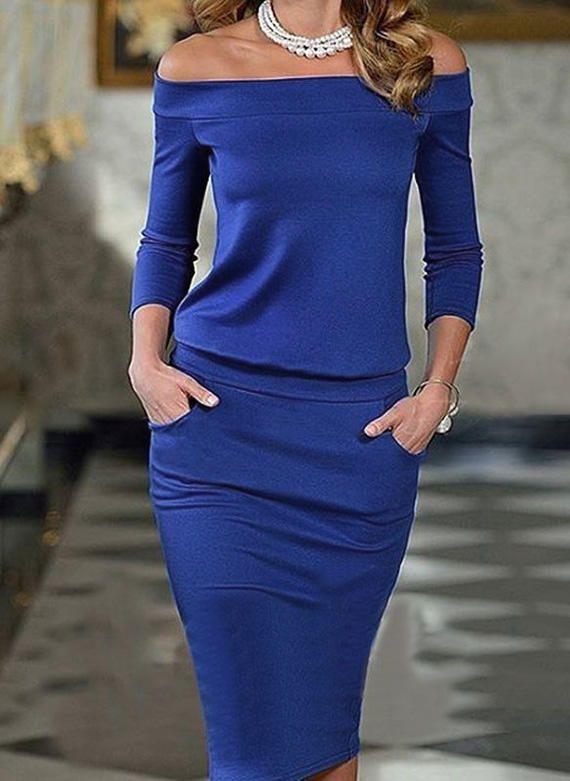 10adf2c40ee Solid 3 4 Sleeves Bodycon Midi Sexy Elegant Dresses (199190903) in ...