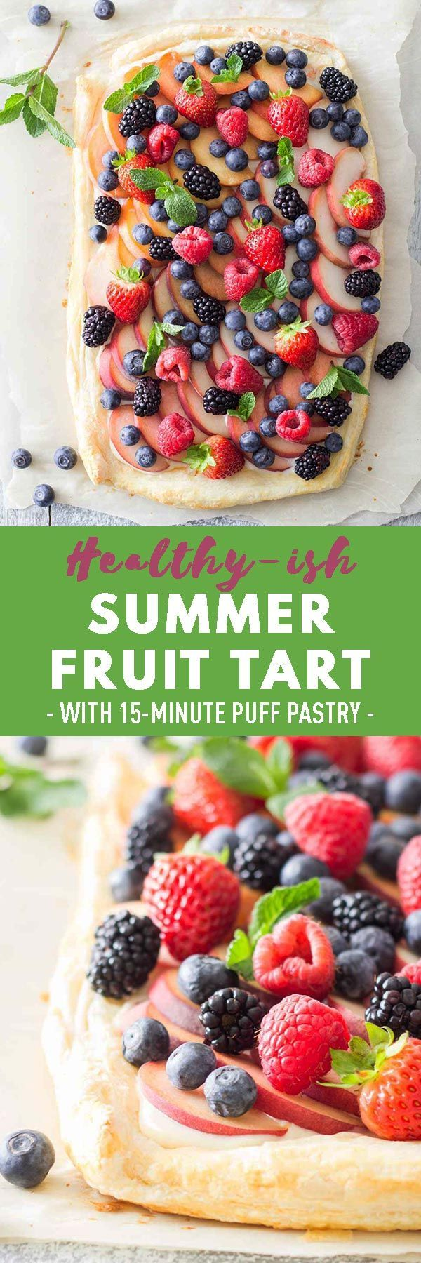 To-die-for Summer Fruit Tart made with 15-Minute Puff Pastry, a layer of lime fl…