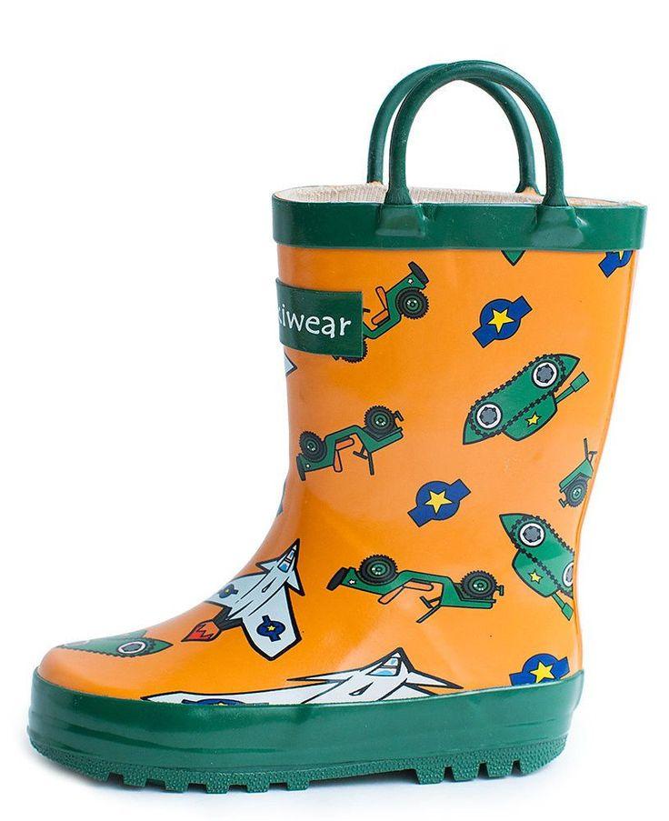 Children's Rubber Rain Boots, Army