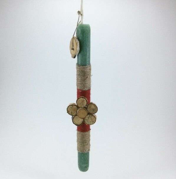 Handmade easter candle wood flower