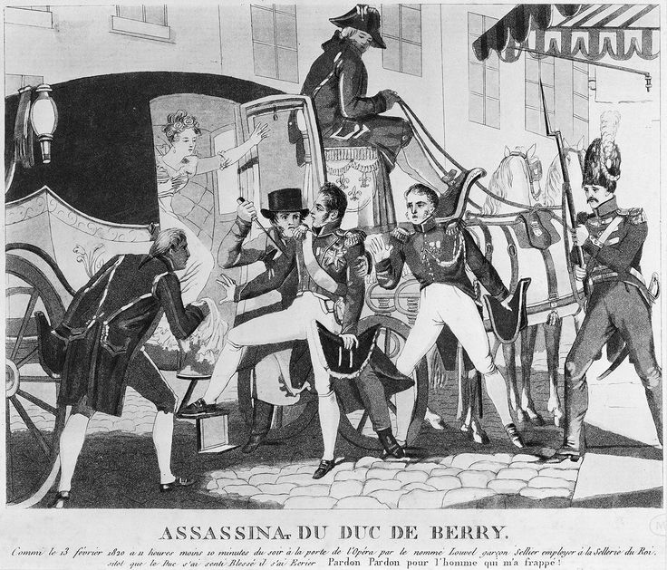 Paris, 1820 - Assassinat du duc de Berry à la porte de l'Opéra. Le 13 février, le duc de Berry est poignardé à la sortie de l'Opéra de la rue de Richelieu par un ouvrier sellier bonapartiste, Louis Pierre Louvel, qui avoua avoir eu pour but de « détruire la souche des Bourbons ». Le duc était en effet le seul homme de la famille royale susceptible d'assurer une descendance à la dynastie fondée par le roi Henri IV.