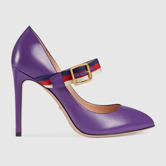 Sylvie leather pump - purple leather