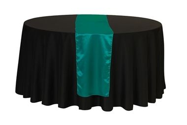 Buy 14 x 108 inch teal satin table runners for weddings at cheap wholesale prices! Great for teal weddings and perfect to use with teal tablecloths.
