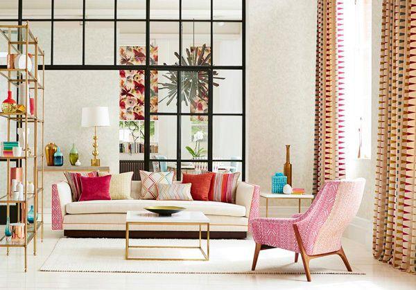 Salón neutro con toques de color, con telas de Harlequin Lo encontraras en @latorredecora y http://latorredecoracion.com/