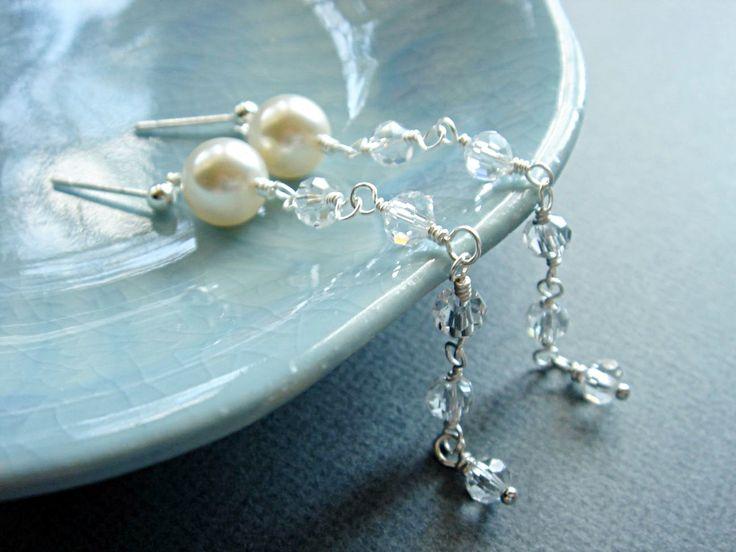 Cordella Long Statement Artisan Handmade Pearls and Crystal Earrings