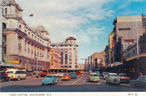 Cars in Lower Queen Street, Auckland, late 1950s