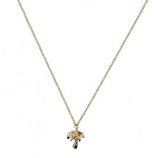 Gouden subtiele ketting met een kleine palmboom als hanger.