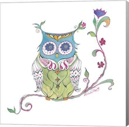 Owl Branch Animal Canvas Wall Art Print by Green Girl Canvas