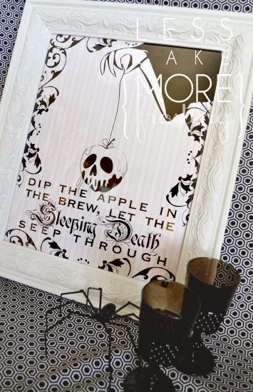 This is so cool! And it's a free printable (for personal use of course!)  That scary old queen from Snow White makes for some awesome Halloween decor.