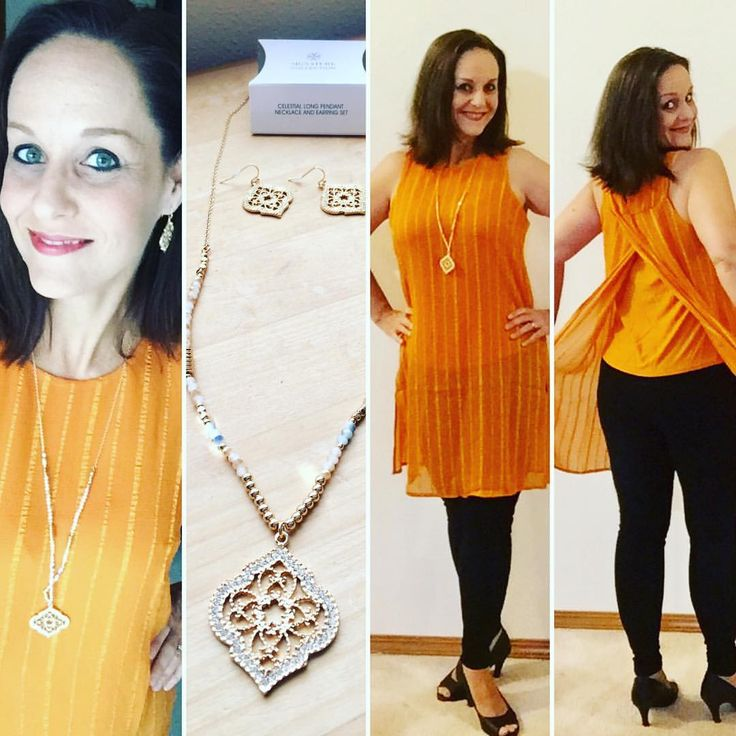 """0 Likes, 1 Comments - Heather Carr (@hethrgood) on Instagram: """"I'm wearing Avon's Textured Chiffon Tunic and their Celestial Long Pendant Necklace and Earring Set…"""""""