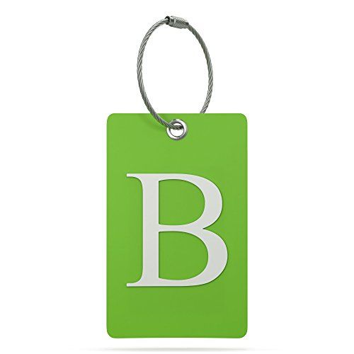 Luggage Tag Initial - Fully Bendable Tag w/ Stainless Steel Loop (Letter B)