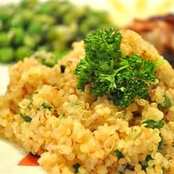 My new favorite food-Quinoa!  Here's a side dish from AllRecipes:  I just made a few minor changes to this recipe.  I used chicken broth instead of vegetable broth and sauteed the onion with the garlic.  Lots of flavor!