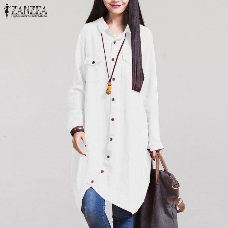 Oversized ZANZEA  Casual Cotton Long Shirts //Price: $25.23 & FREE Shipping //     #hashtag2