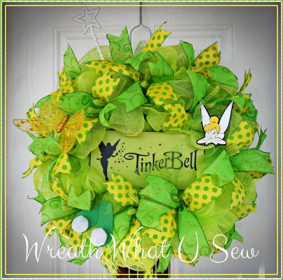 Disney Themed Wreath Tinker Bell Wreath Green by WreathWhatUSew