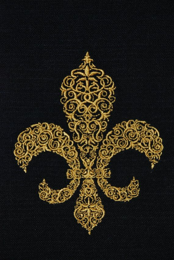Black and Gold Frilly Fleur de Lis Tea Towel by seauxsouthern,