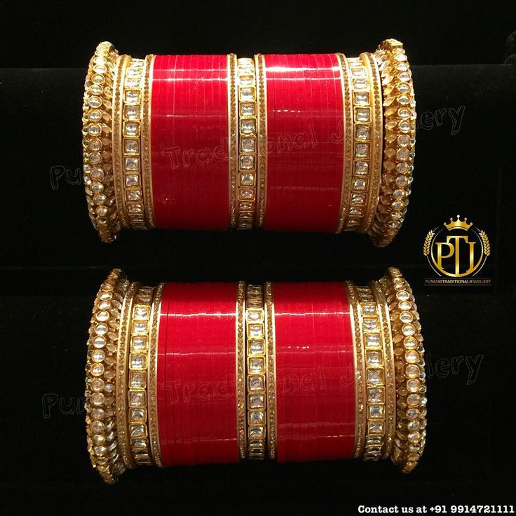 "2,895 Likes, 78 Comments - Punjabi Traditional Jewellery™ (@punjabijewellery) on Instagram: ""Punjabi Traditional ""Kundan Red Wedding Churra"" Snapchat - punjabijewellery Instagram -…"""