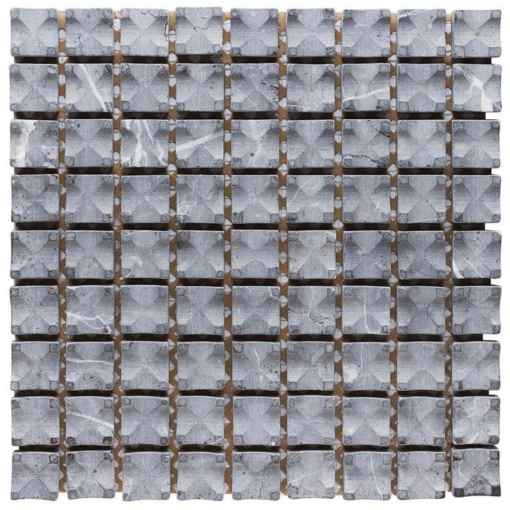 Malla Decorativa Cobble con piedras naturales labradas en trama color gris azulado. Medida (cm) 30 x 30 Grosor (cm) 1.4