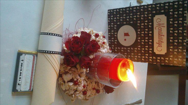 wedding centerpiece - rose, popcorn