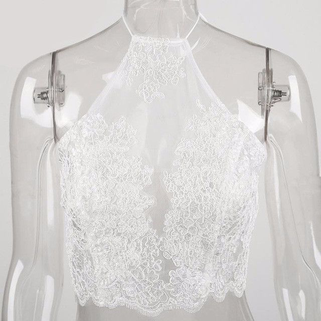 Elegant white lace crop top backless short halter tops Sexy white party camis gauze metallic women tank top