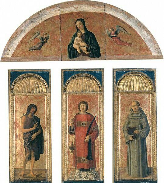 Trittici della carità.  Trittico di San Lorenzo.  Sono opera di Jacopo, Gentile e Giovanni.  1472. Il timpano curvilineo è un ricordo donatelliano
