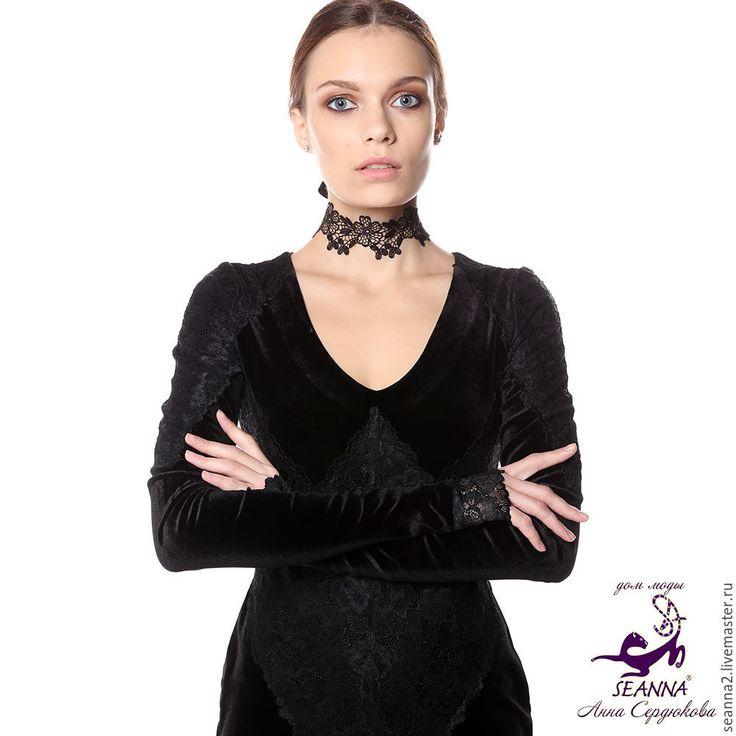 """Купить Ожерелье - чокер безразмерное кружево на ленте """"Ромашка с клевером"""" - ожерелье, колье, ожерелье купить"""