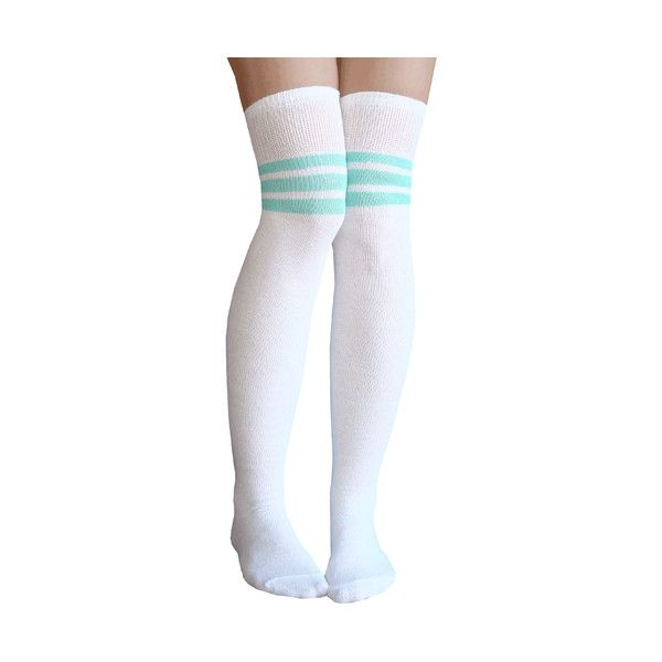 White/Mint Green Thigh Highs (940 MXN) ❤ liked on Polyvore featuring intimates, hosiery, socks, white hosiery, white thigh high socks, thigh high socks, white over knee socks and white socks