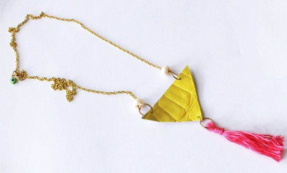 Yellow leather triangle bid necklace vivid by NataliesWunderland, $20.00