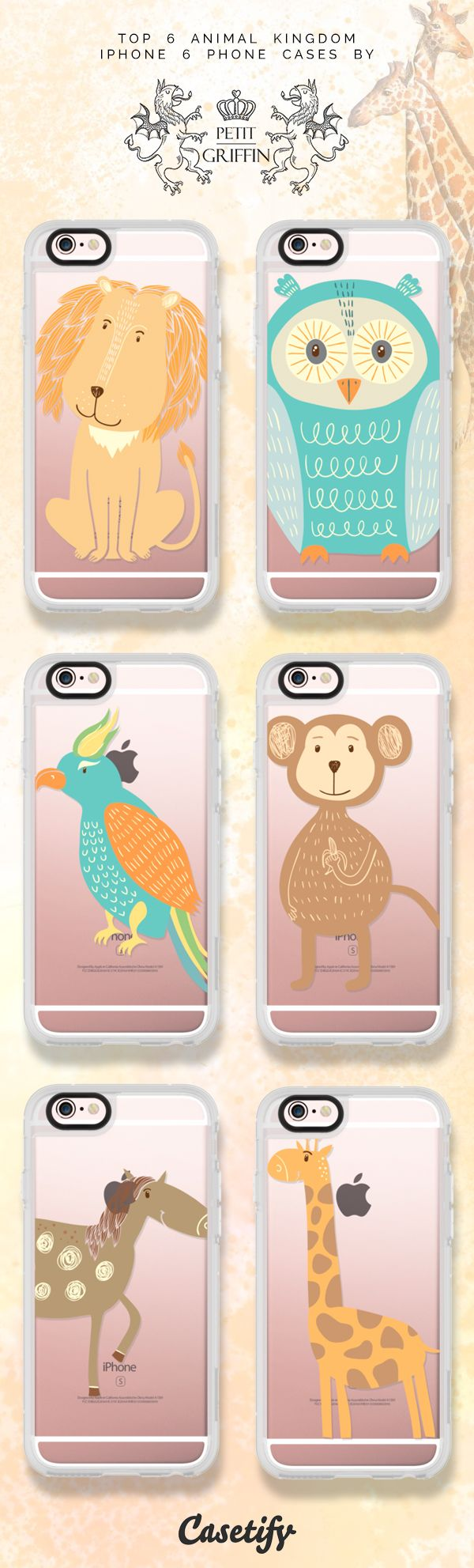 6 most popular animal iPhone 6s phone case designs by Petit Griffin | Click through to see more iPhone phone case ideas >>> https://www.casetify.com/artworks/8AykCEivoD #lion | @casetify