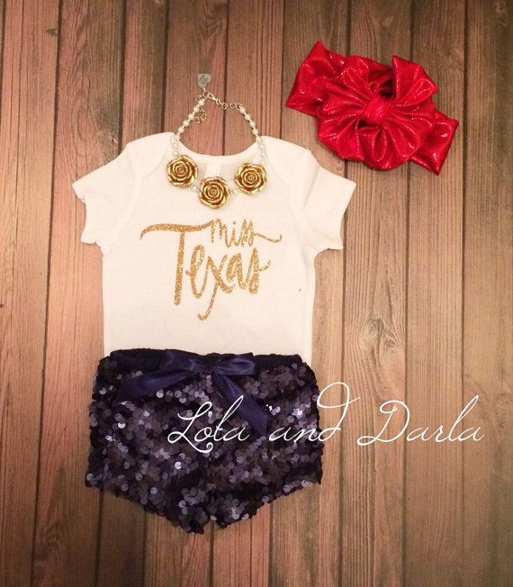 Miss Texas gold sparkle baby onesie by LolaandDarlaDesigns on Etsy