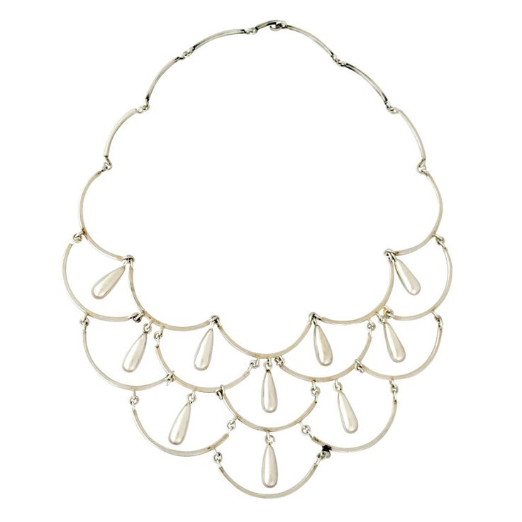 Antonio Pineda .980 Silver Modernist Necklace | From a unique collection of vintage drop necklaces at https://www.1stdibs.com/jewelry/necklaces/drop-necklaces/