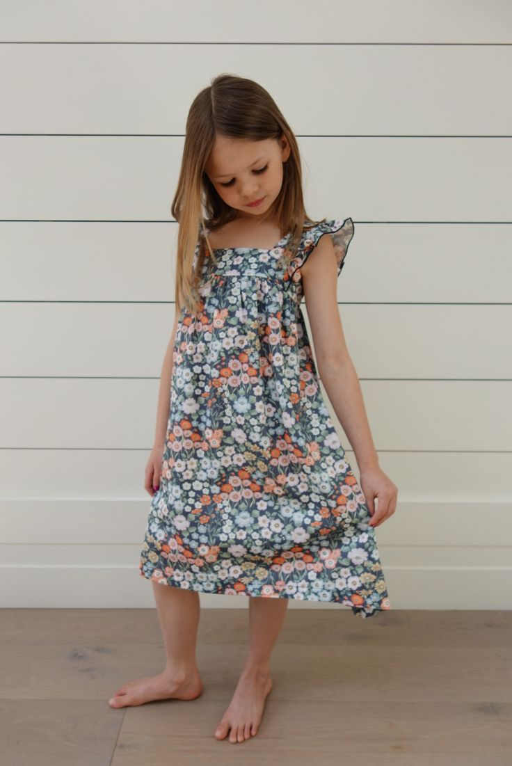 Blue Poppy Dress Ages 3-10 Years.