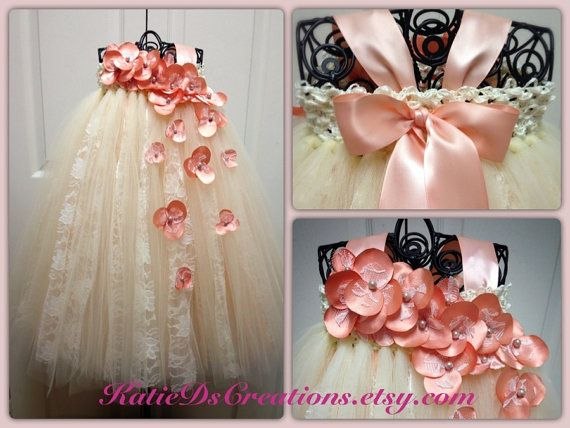 Peach and Ivory Lace Flower Girl Tutu Dress