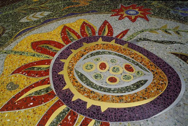 This may a little too vibrant for my house, but it's a great example of a Terrazzo floor. Residential entry. © Teresa Cox 2012