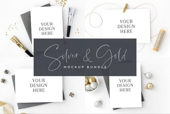 e2c891cb6 Silver and Gold Card Mockup Bundle by The Stationery Stock Shop on   creativemarket