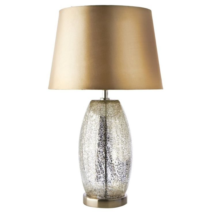 Table Lamp with Shade Stunning Large Champagne Crackle Effect Brand New